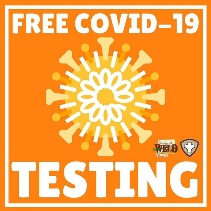 "picture of coronavirus with text ""free COVID-19 testing"" and weld county logo"