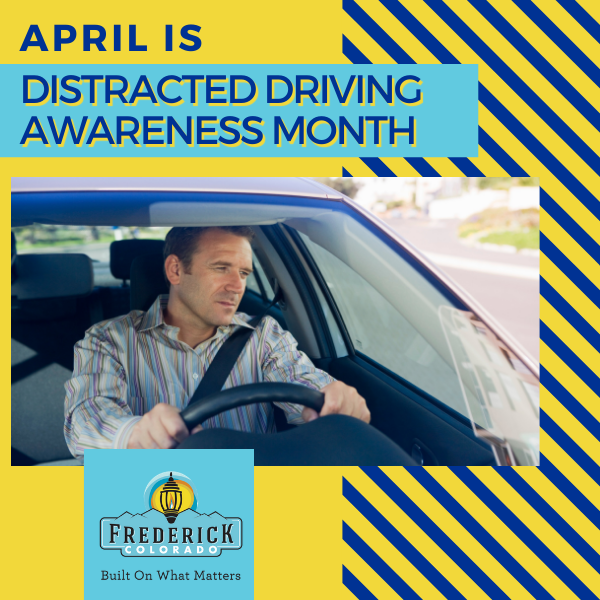 "blue and yellow graphic with picture of man driving ""April is Distracted Driver Awareness Month&#"